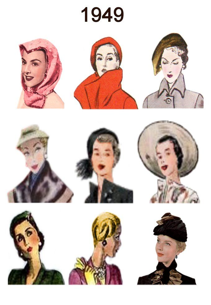 Hat And Hair Style Fashion History Images 1946 1949 Fashion History Hats Vintage Hat Hairstyles
