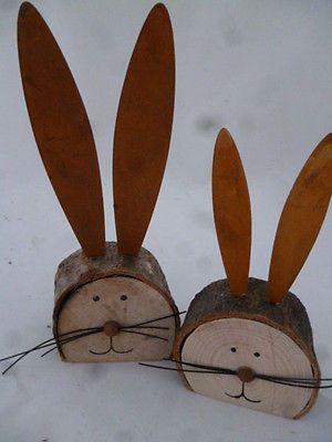 2 er- Set Osterhasen Holz Osterdekoration Hase Osterhase Metallohren Hasenkopf #kreativehandwerke