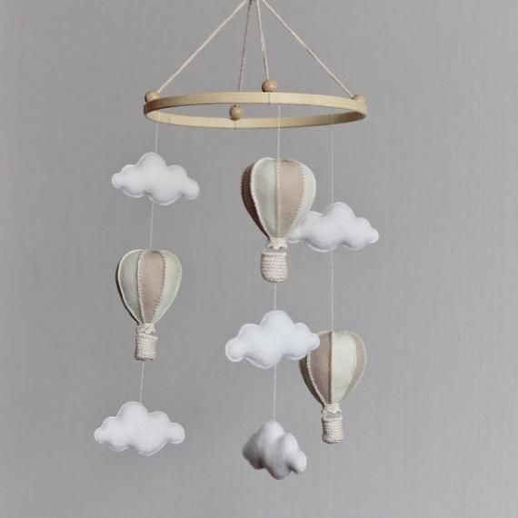 Baby mobile, Newborn gift, Eco-friendly toy, eco-friendly toy, Baby mobile hanging, Baby shower gift, Hot-air balloons mobile, crib toy