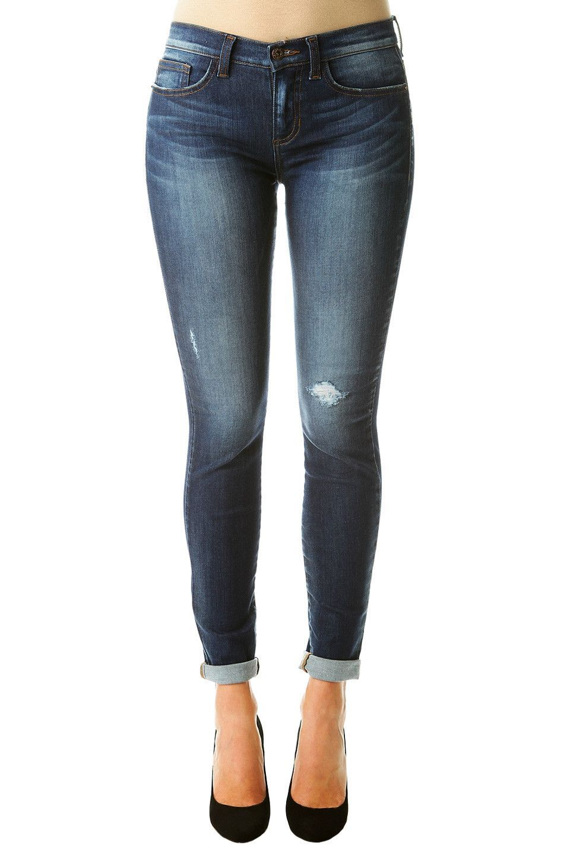 Skinny Jeans with Stretch - Dark Wash, Slightly Distressed