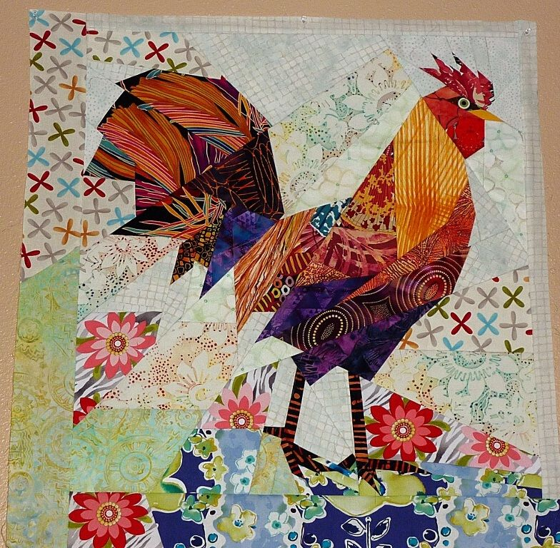 Straight Line Paper Pieced Technique Rooster Paper