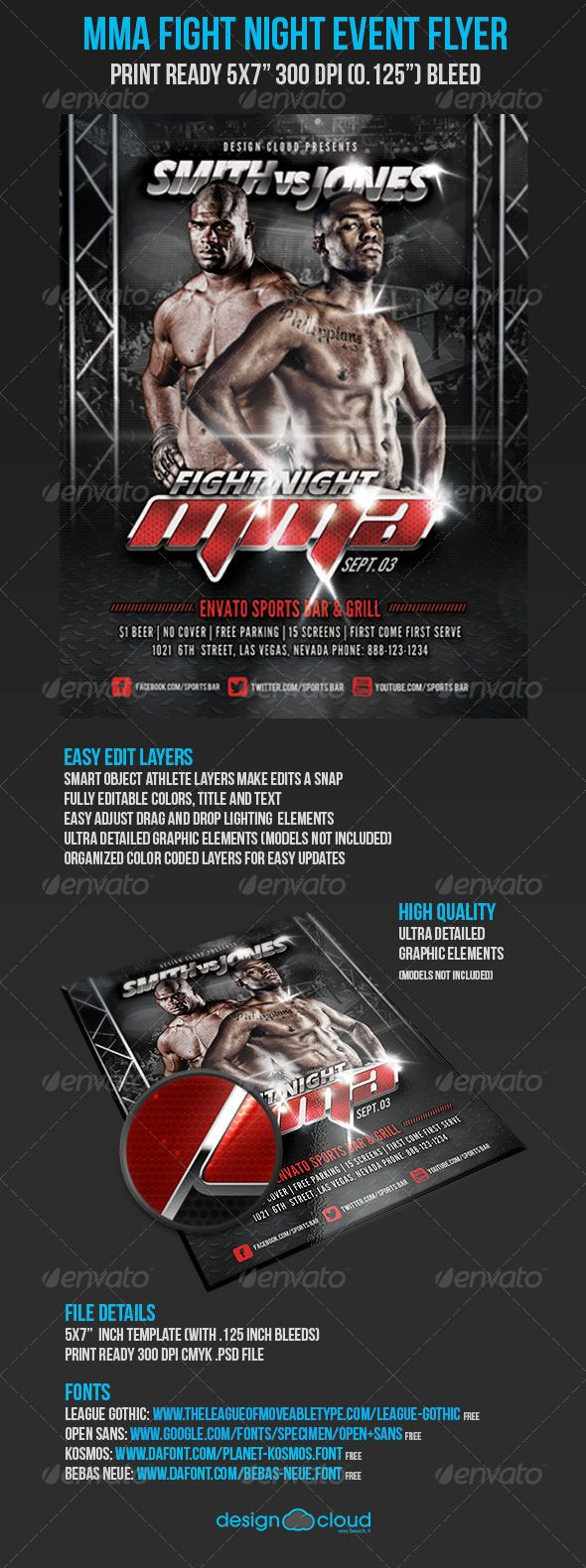 MMA Fight Night UFC Event Promo Flyer – Ufc Flyer Template
