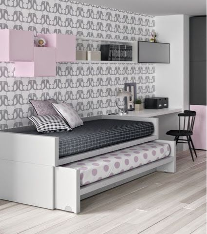 Cama compacta con cama desplazable infantil pinterest for Dormitorios juveniles cama nido doble