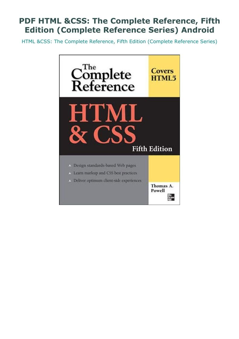 Pdf Html Css The Complete Reference Fifth Edition Complete Reference Series Android In 2020 Html Css Css Reference