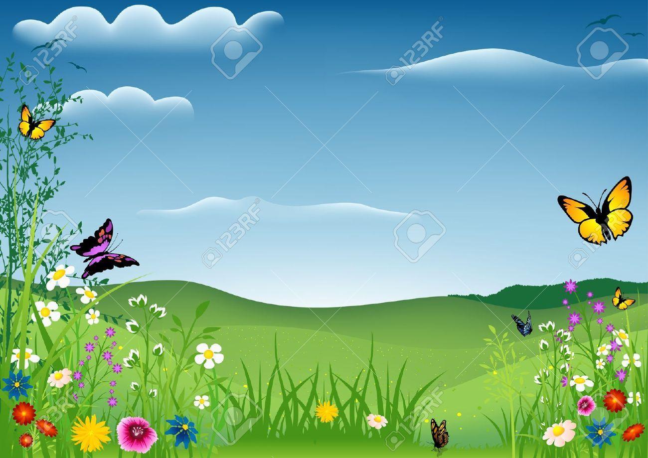Spring Landscape With Butterflies Spring Landscape Spring Scene Landscape