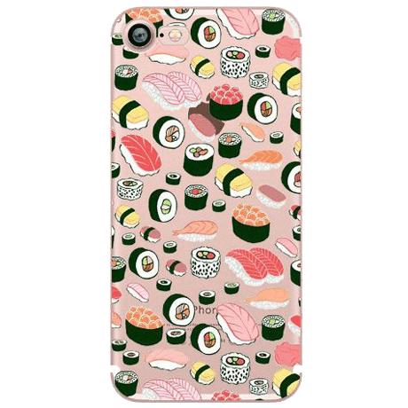 itGirl Shop TRANSPARENT SILICONE SUSHI PATTERN PHONE CASE #sushi ...