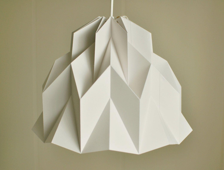 Ruffle Origami Paper Lamp Shade Lantern Grey By Fiberstore