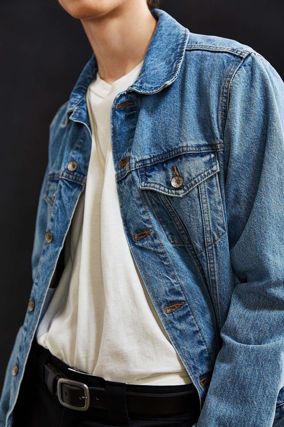 Bdg Core Denim Trucker Jacket Long Sleeve Denim Jacket Denim Jacket Outfit Vintage Denim Jacket [ 1463 x 975 Pixel ]