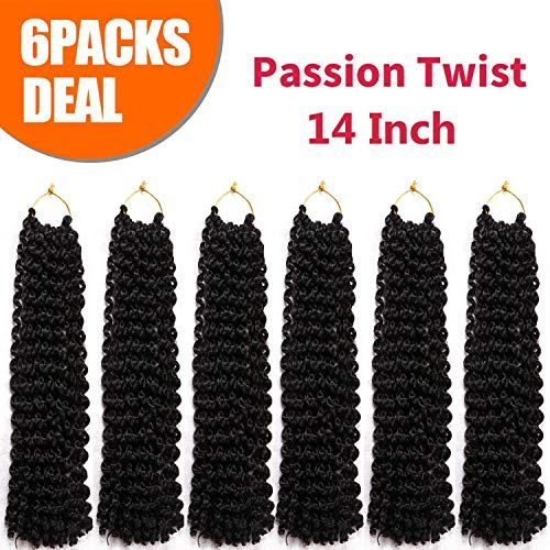 Buy 14 Inch 6 Packs Passion Twist Hair Crochet Braids Water Wave Crochet Hair Long Bohemian Braids Synthetic Kinky Curly Braiding Hair (14 Inch, 1B#) online - Thetopbrandsstyle #passiontwistshairstylelong