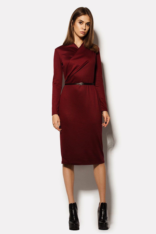 Marsala dress casual Wine dress Burgundy dress Pencil dress women ...