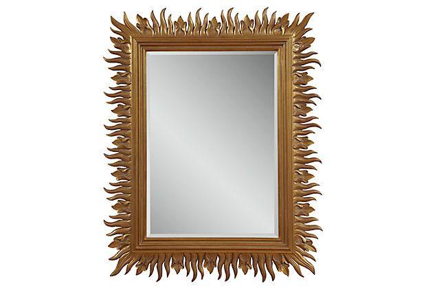 "Poppy Wall Mirror, Gold on OneKingsLane.com, $199, 50""W x 4""D x 40""H"