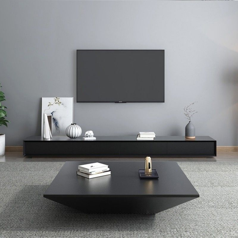 Modern Black Wood Coffee Table With Storage Square Drum Coffee Table With Drawer Tv Stand Decor Living Room Living Room Modern Table Decor Living Room