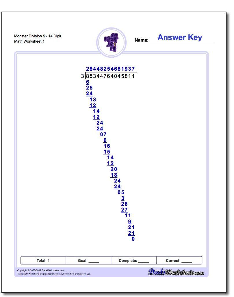 Monster Long Division Worksheets Division Printables Mathprintables Mathworksheets Freedownl Math Worksheets Division Worksheets Long Division Worksheets [ 1025 x 810 Pixel ]