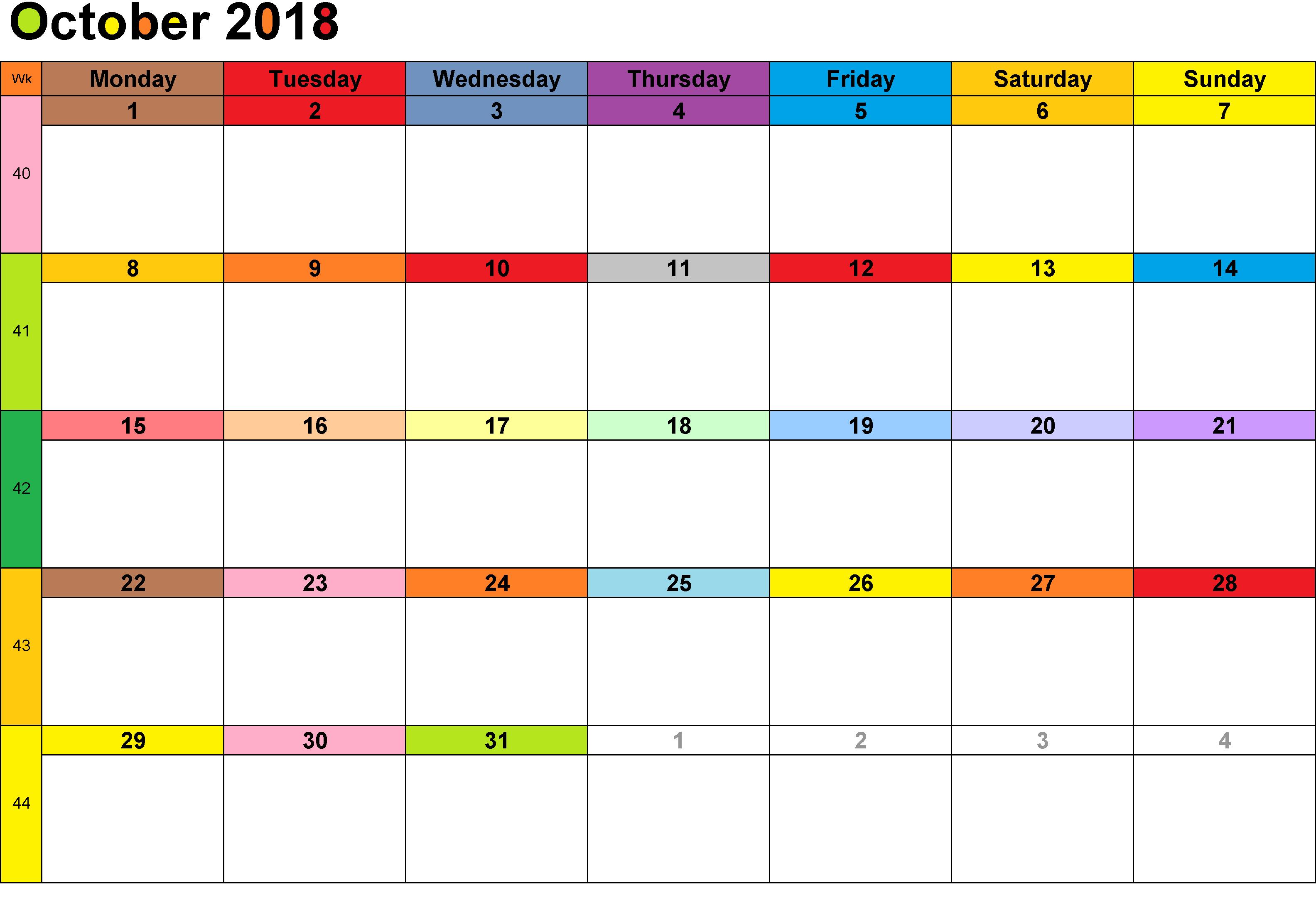 October Printable Calendar With Bank Holidays