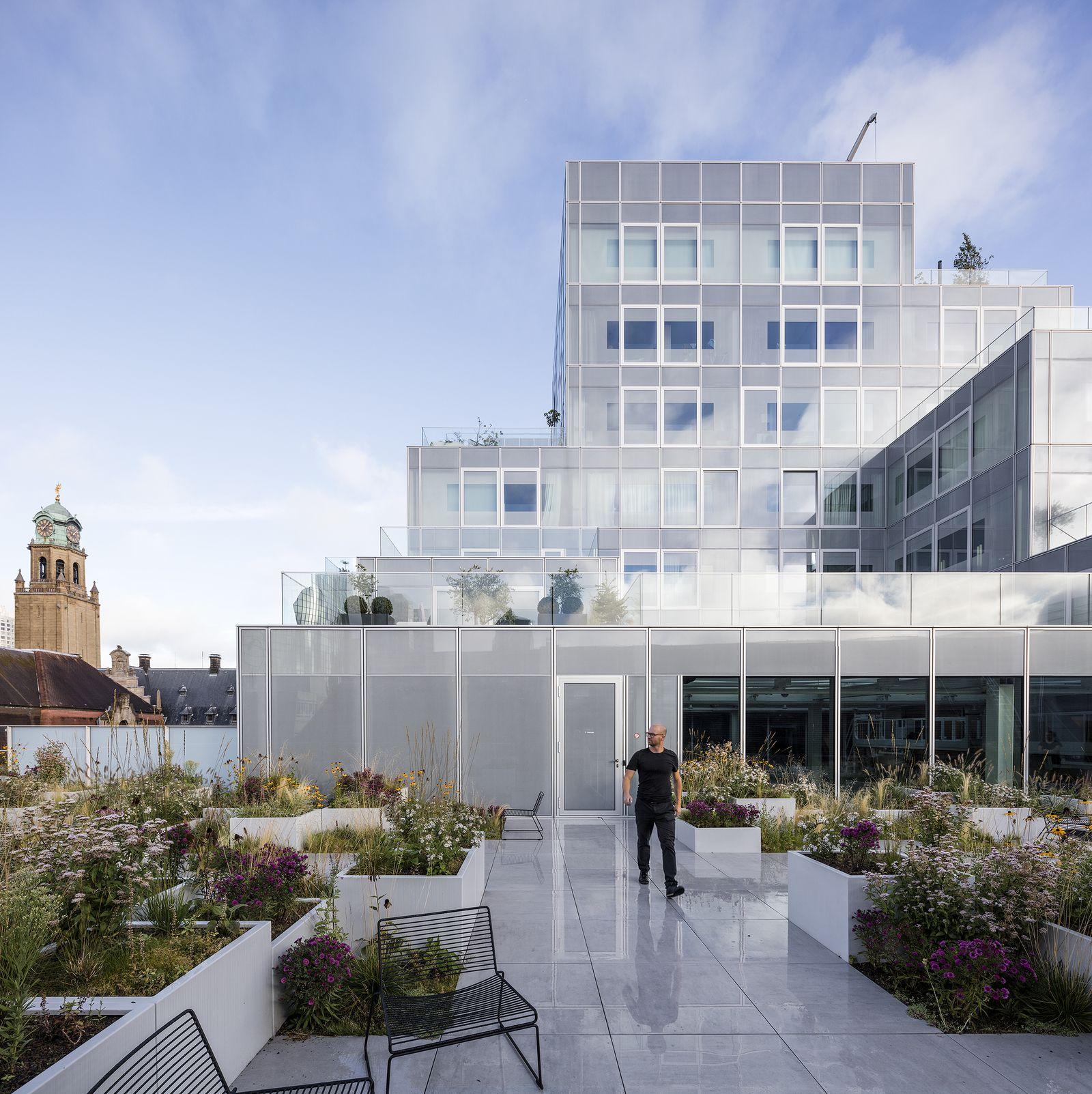 Rotterdam Timmerhuis OMA stadstuin tuin daktuin glas print