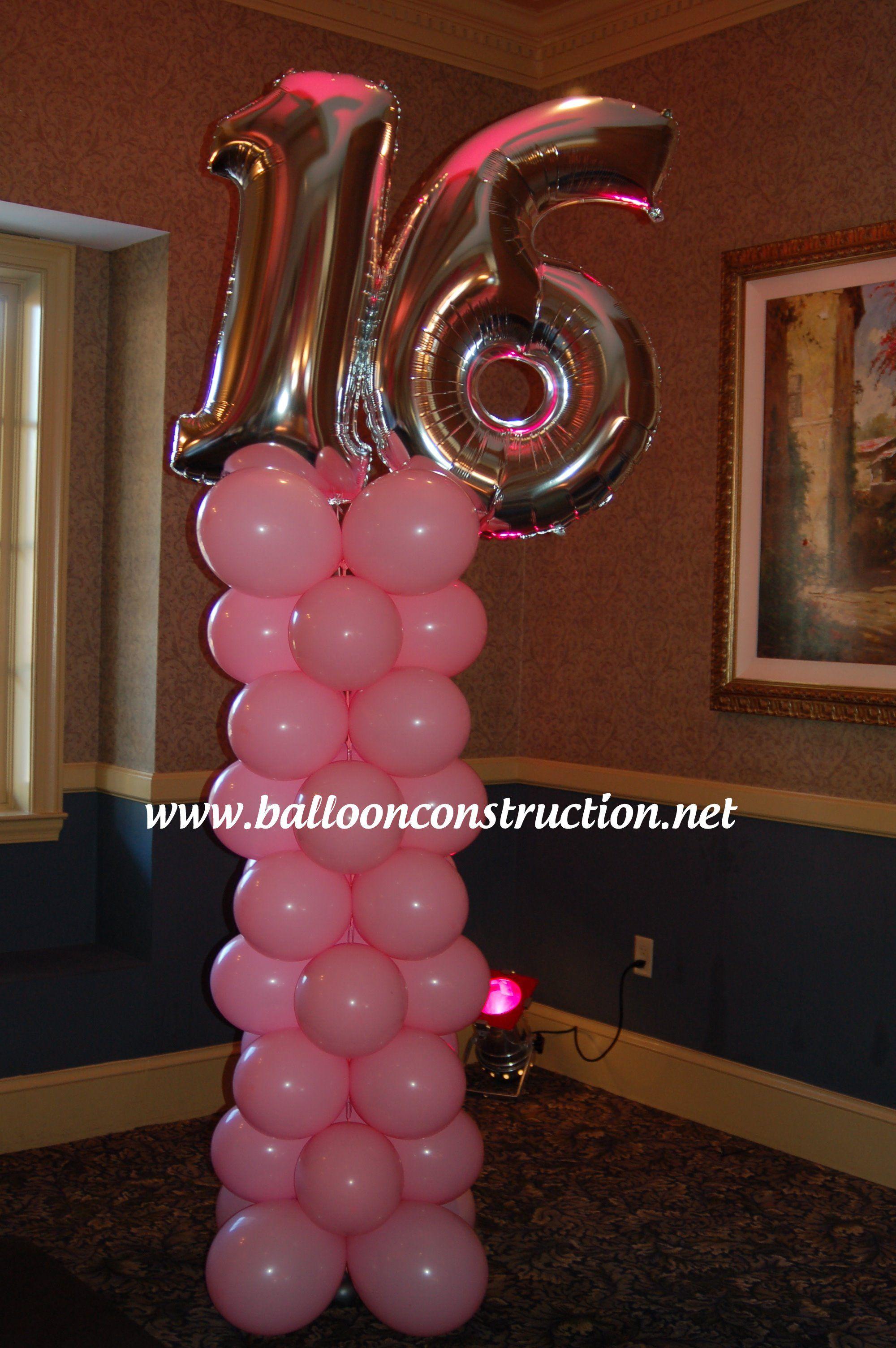 Sweet 16 Balloon Column Balloons 16th Birthday
