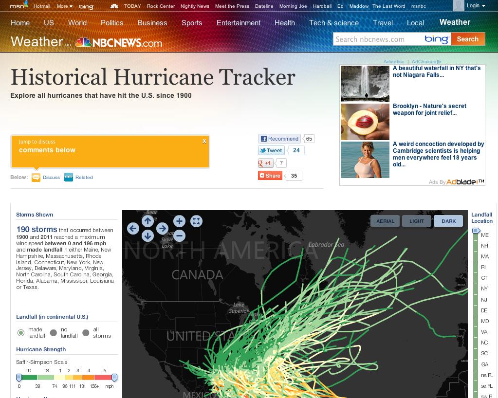 Msnbc Historical Hurricane Tracker Nature Secret Local Travel Health Tech