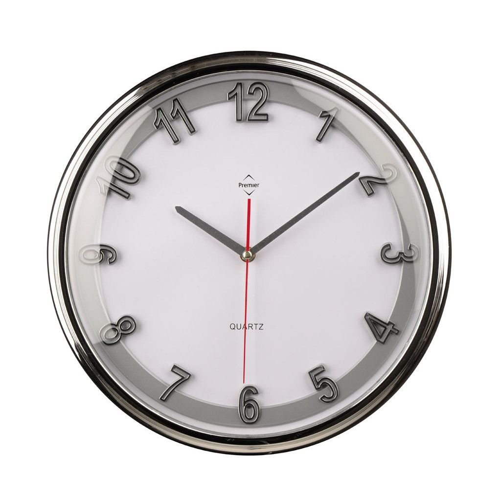Wall Clock Chrome Effect Silver Plastic