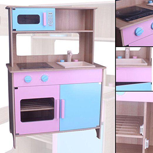 Kinderküche #783 Spielküche Küche Holzküche Kinder Holzspielzeug Rosa Blau