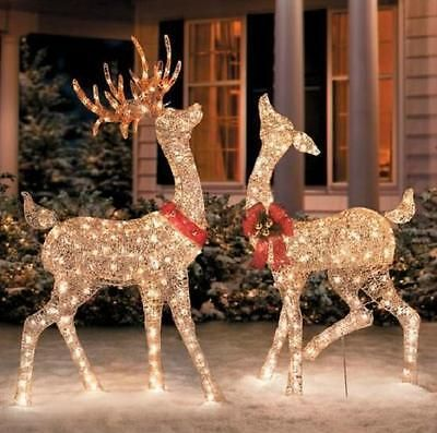 set of 2 lighted golden champagne reindeer deer outdoor christmas yard decor - Outdoor Christmas Reindeer Decorations Lighted