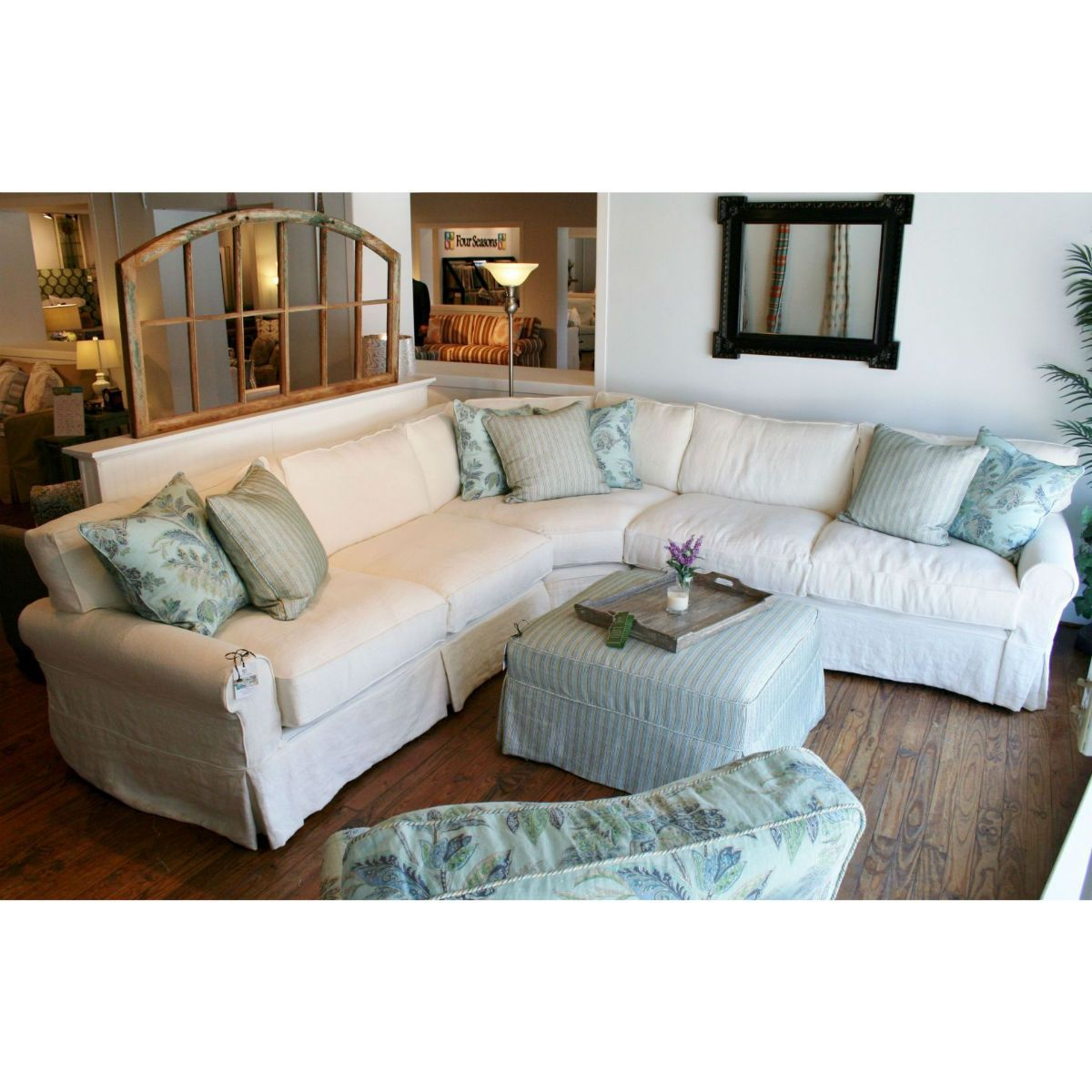 Slipcovered Sectional Sofa-Boothbay (Daniel) 108x108 | Coastal ...