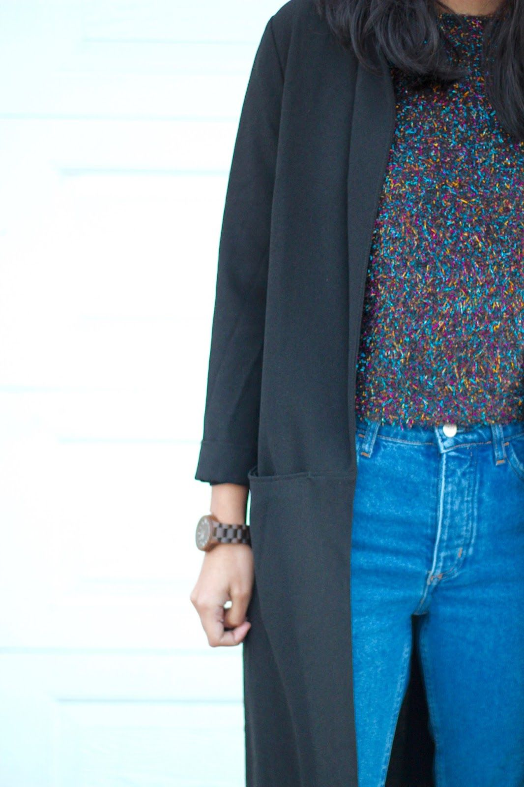glitter sweater, duster coat, oxford platform shoes, blue jeans ...