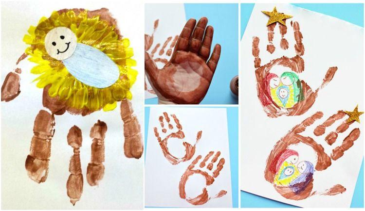 peinture de Noel avec la main dessins empreintes digitales #Noël #christmascards #diy