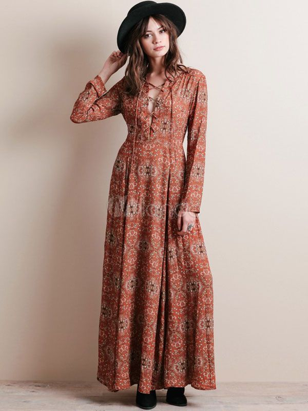 892719c8fd49 Vintage Floral Print Chiffon Maxi Dress Long Sleeve Plus Size Cross Front  Casual Long Dress