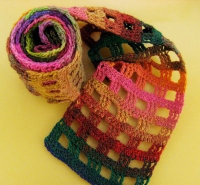 Gridtastic crochet scarf with Noro Yarn