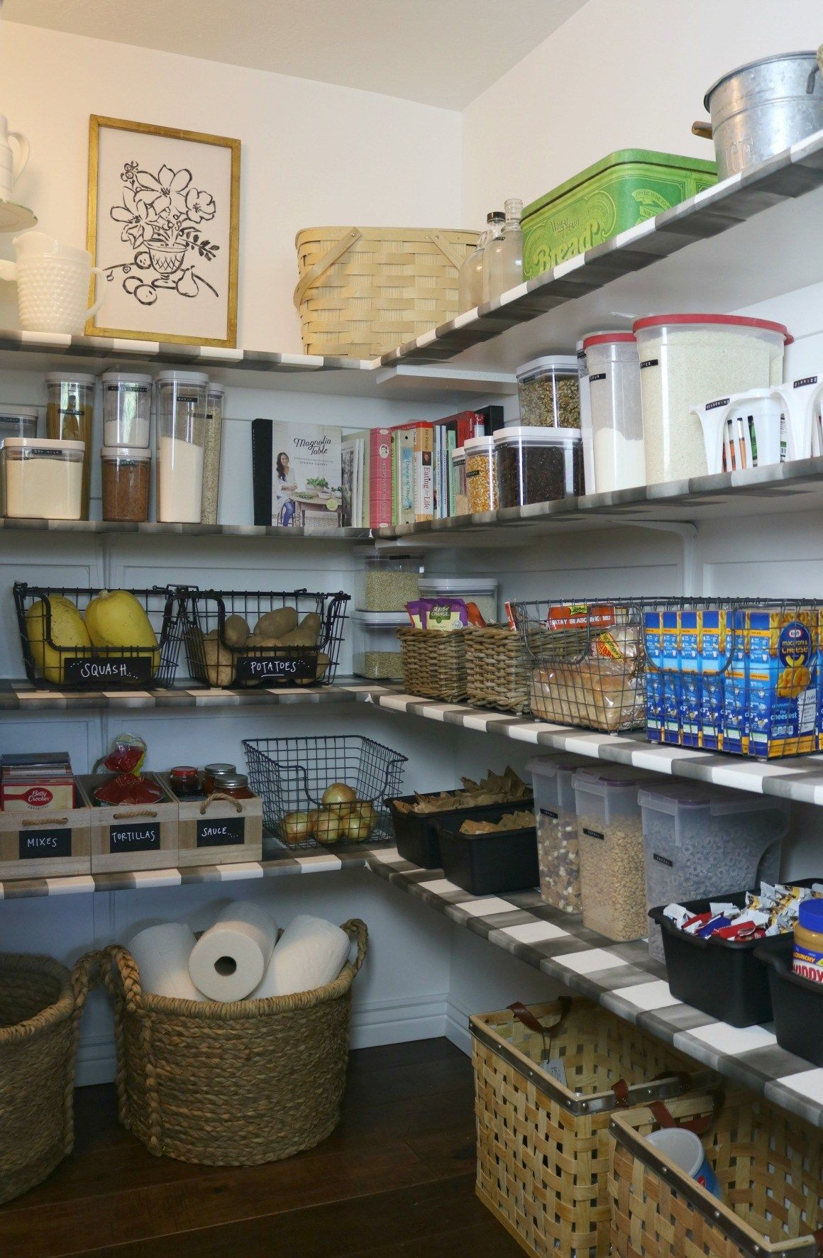 Pantry Makeover With Wallpaper Shelves Nesting With Grace Pantry Makeover Wallpaper Shelves Diy Pantry Organization