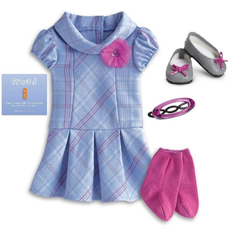 "Charm Retired NEW American Girl MY AG SWEET SCHOOL DRESS Outfit for 18/"" Dolls"