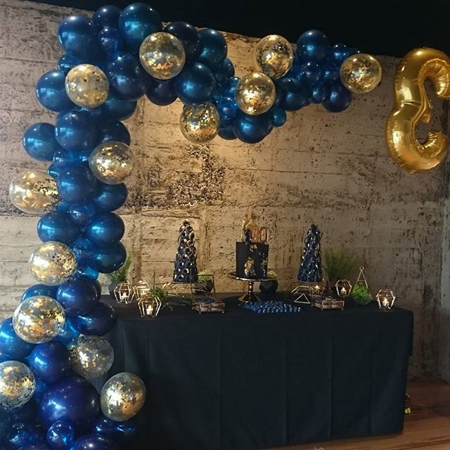 Navy And Gold Table Cakes By The Very Talented 55 Pcs Blue Birthday Party Decorations