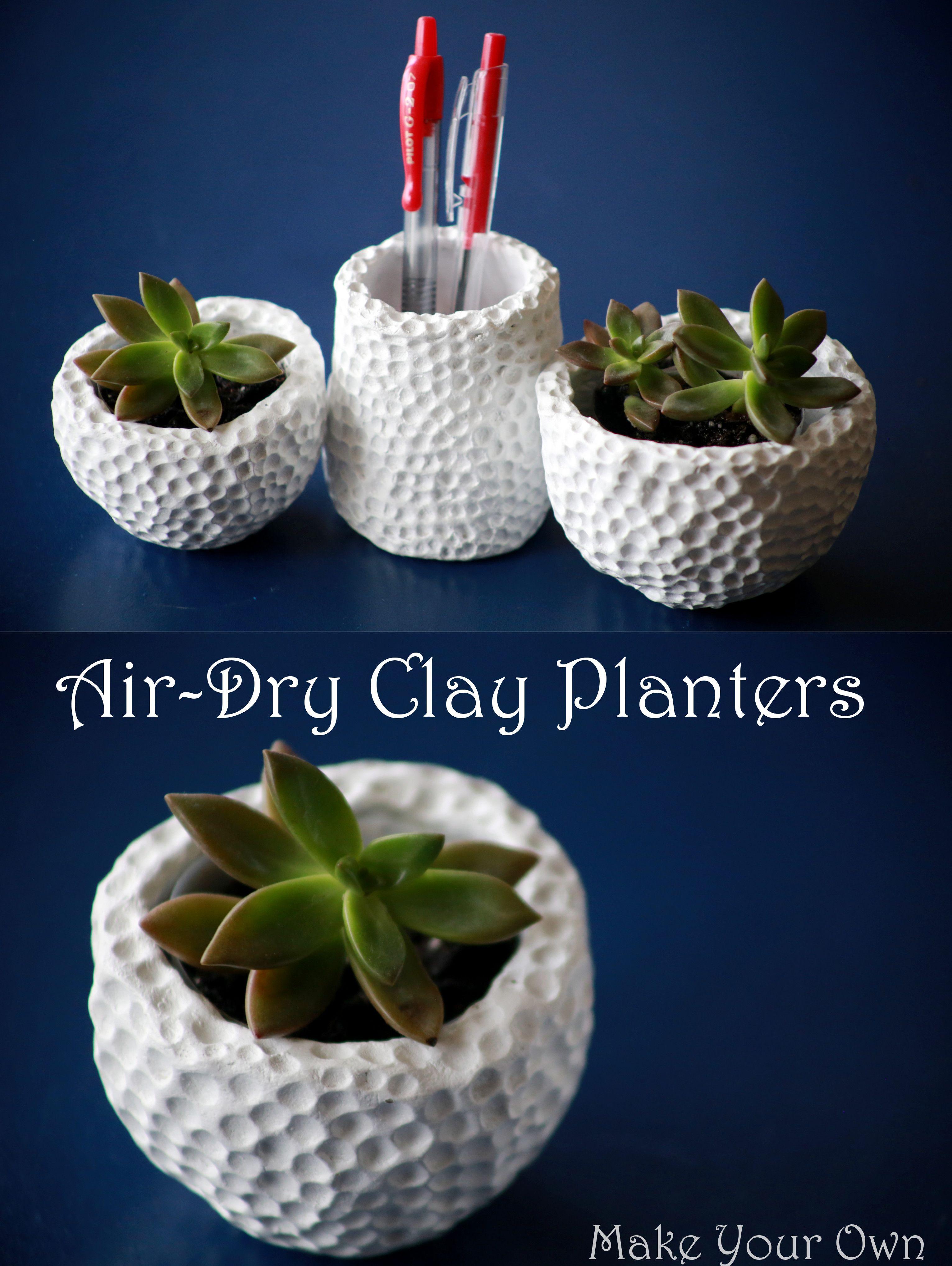 diy air dry clay plant pot