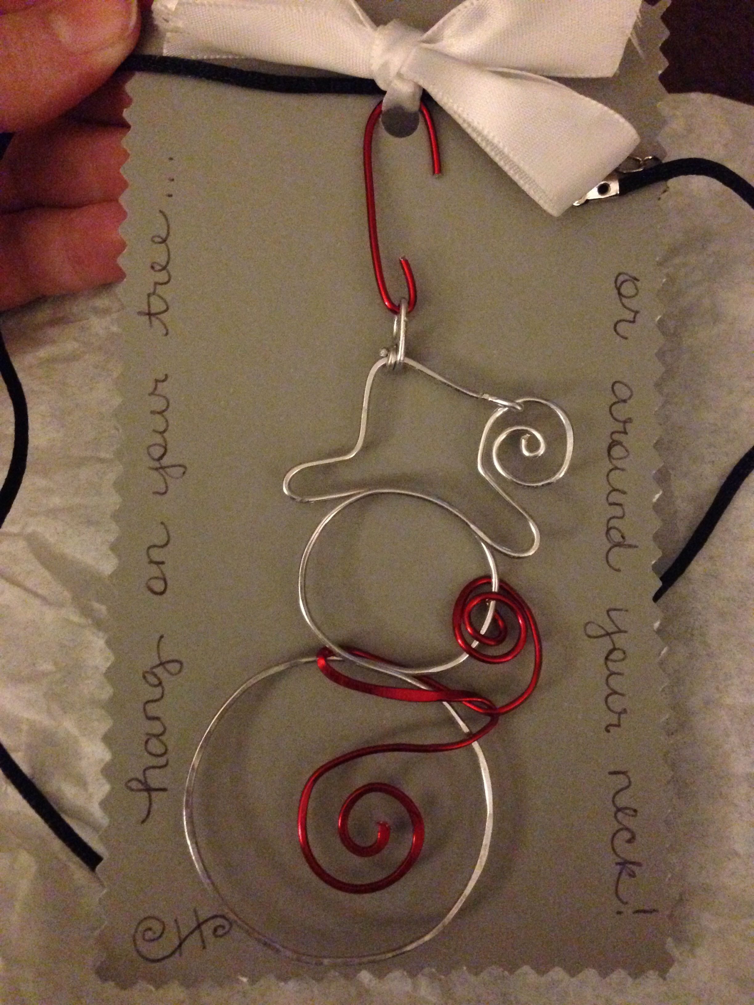 Wire snowman. Can be hung as tree ornament or necklace pendant ...