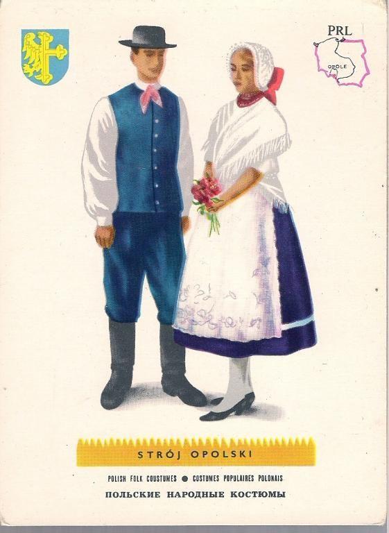 Pocztowka Stroj Opolski Mapka Herb Lata 60 4046328324 Oficjalne Archiwum Allegro Polish Traditional Costume Polish Folk Art Folk Costume