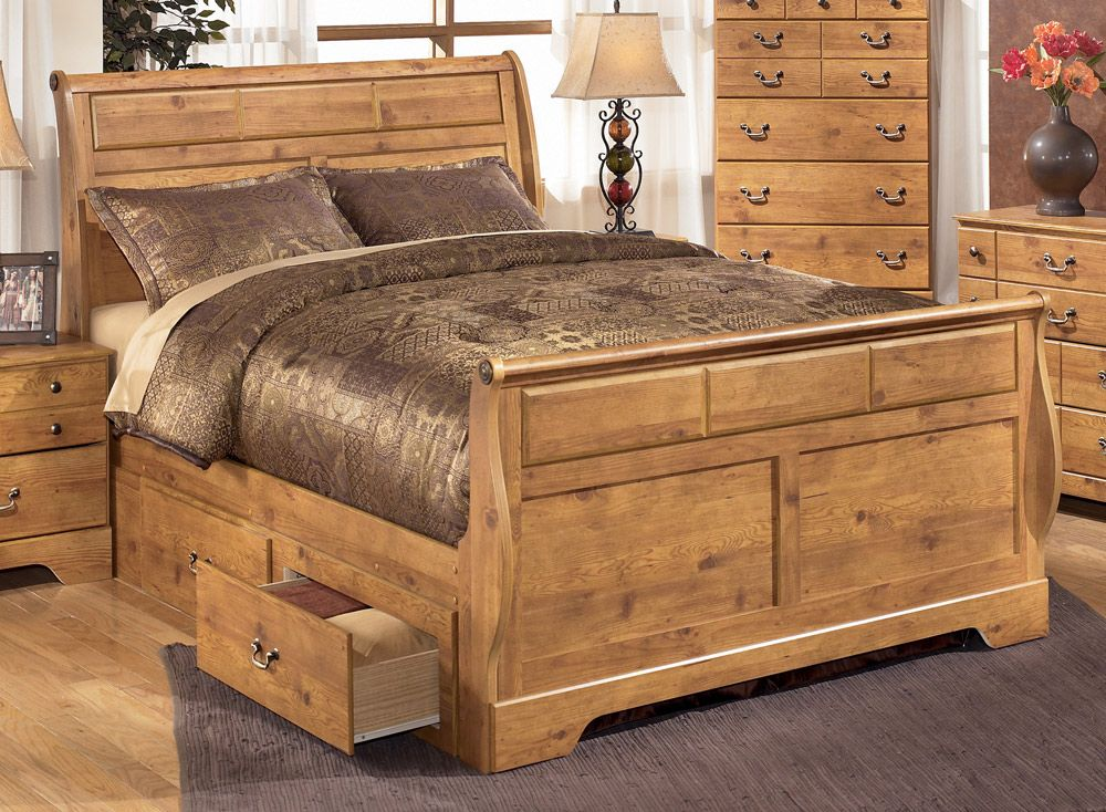 Adorable Bittersweet king size sleigh bed with nightstand set ...