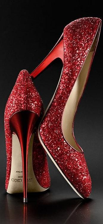 ... Sparkle Pumps. A whole new meaning to the Ruby Slipppers...((Kim  Palismo)) The Millionairess of Pennsylvania  red glitter Jimmy Choo 6a310e4d6073
