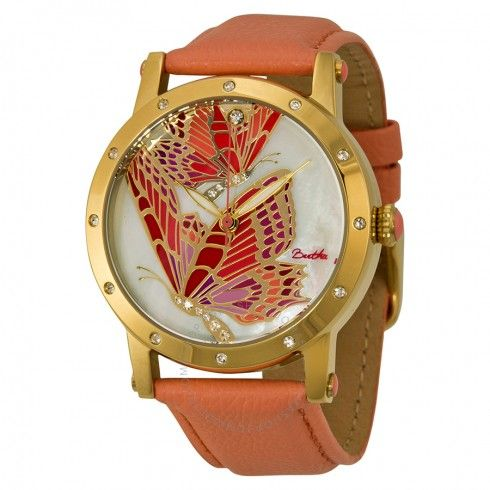 Bertha Isabella Mother of Pearl Coral Leather Ladies Watch BR4303