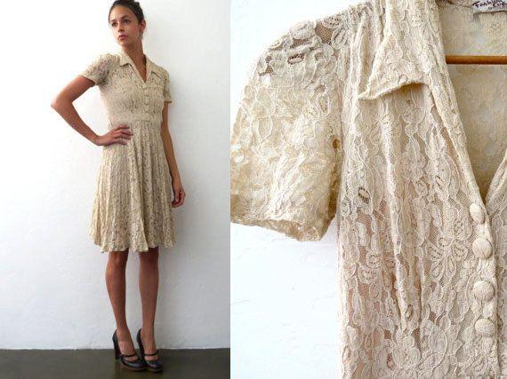 Beige Lace 1940s Dress // Extra Small 40s Feminine by BarnabyJack