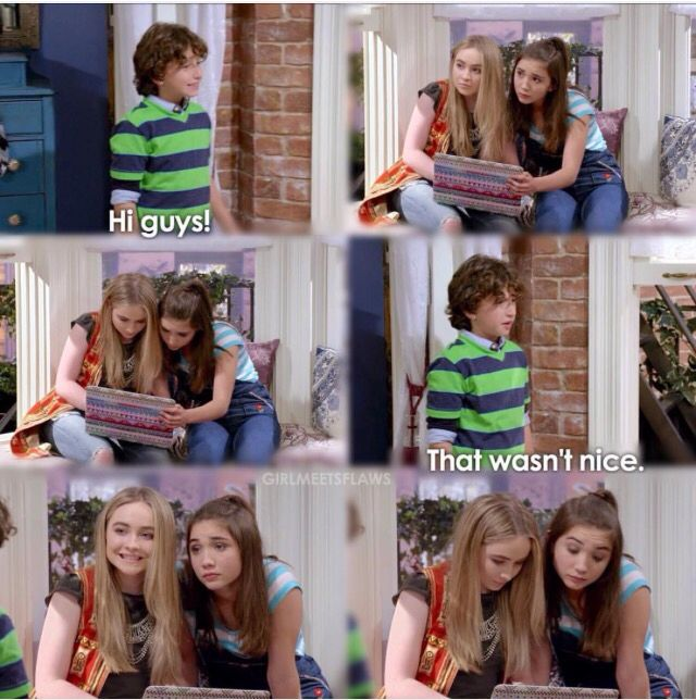 """#GirlMeetsWorld """"Girl Meets the Real World"""" (it's funny how after he says that's not nice, Maya smiles at him but Riley looks the same)"""