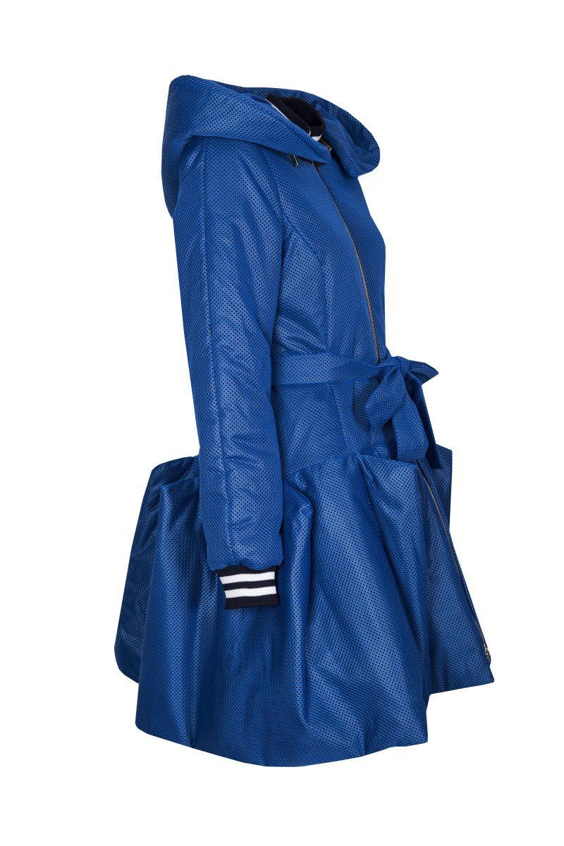 Moxos Kolekcja Jesien Zima Taliowany Chabrowy Plaszcz Damski Z Przestrzennym Dolem Fashion Coat Collection 2015