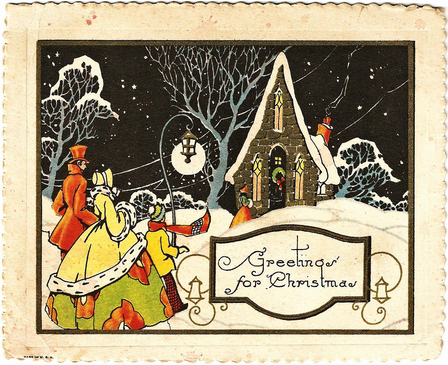 Catnipstudiocollage Free Vintage Clip Art Starry Night Christmas