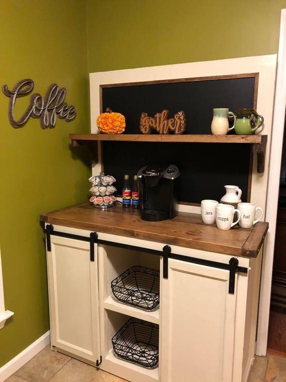 Farmhouse Coffee Bar Liquor Cabinet Wine Cart With A Framed