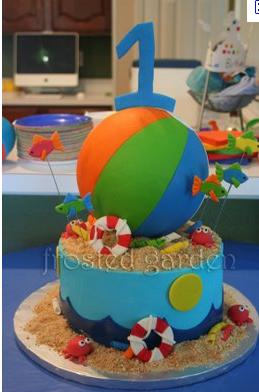 Pleasing 1St Birthday Beach Cake Beach Wedding Cake Cowboy Baby Shower Birthday Cards Printable Benkemecafe Filternl