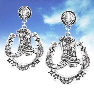Western cowboy boot horseshoe earrings. Antique Silver/Clearcolor. 2.1 inches long andmetal compliant.