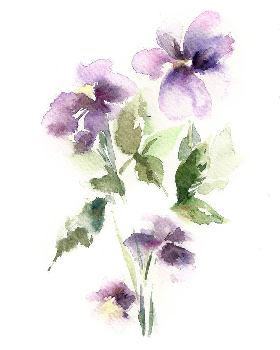 Watercolor Painting Art Print Purple Flowers By Canotstopprints