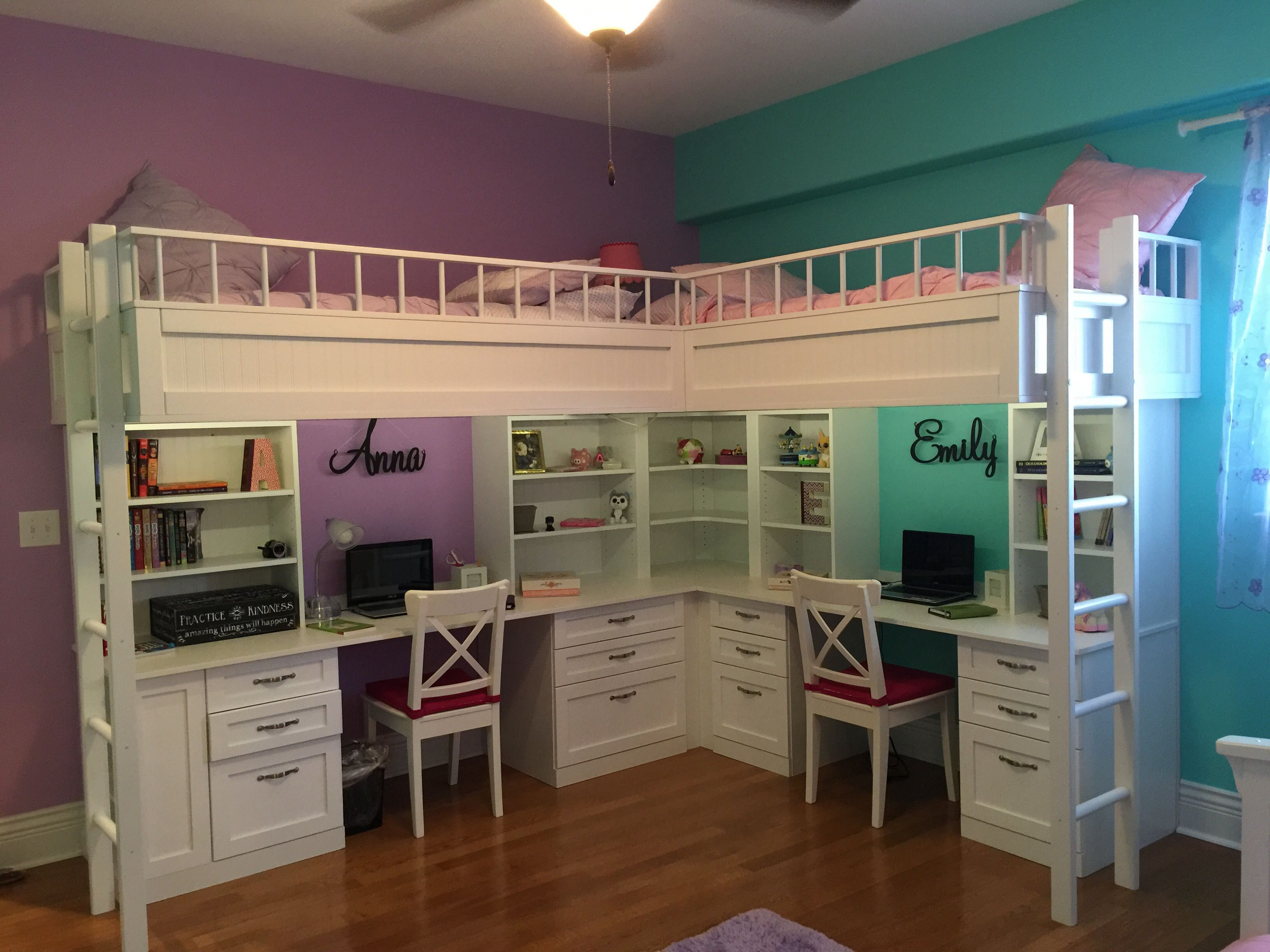 Cool Room Idea custom made dual loft beds with desks | kids room decor
