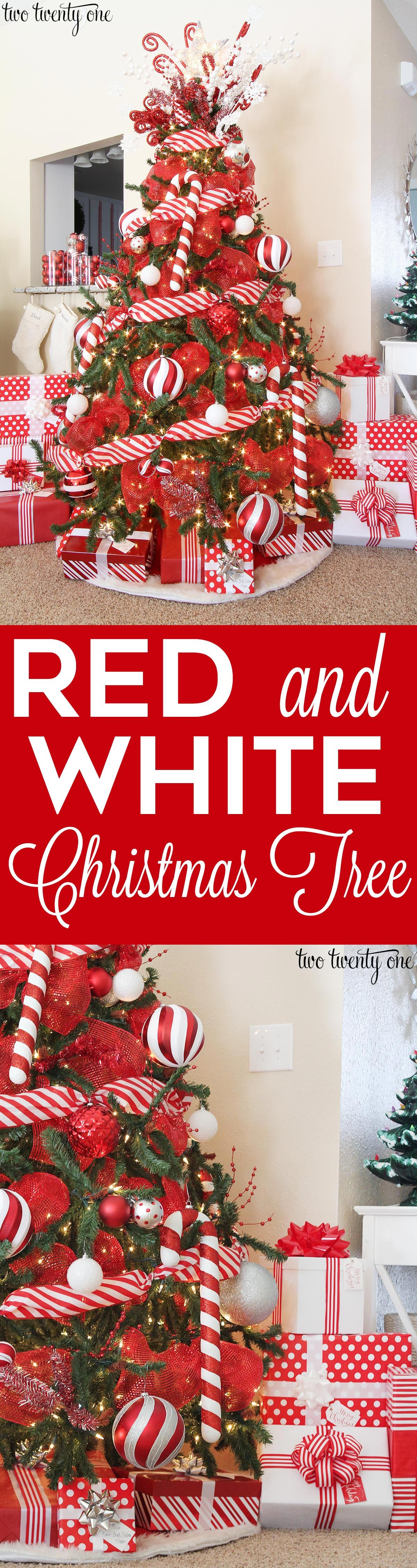 beautifully decorated red and white christmas tree with candy cane accents - Candy Cane Christmas Tree Decorations