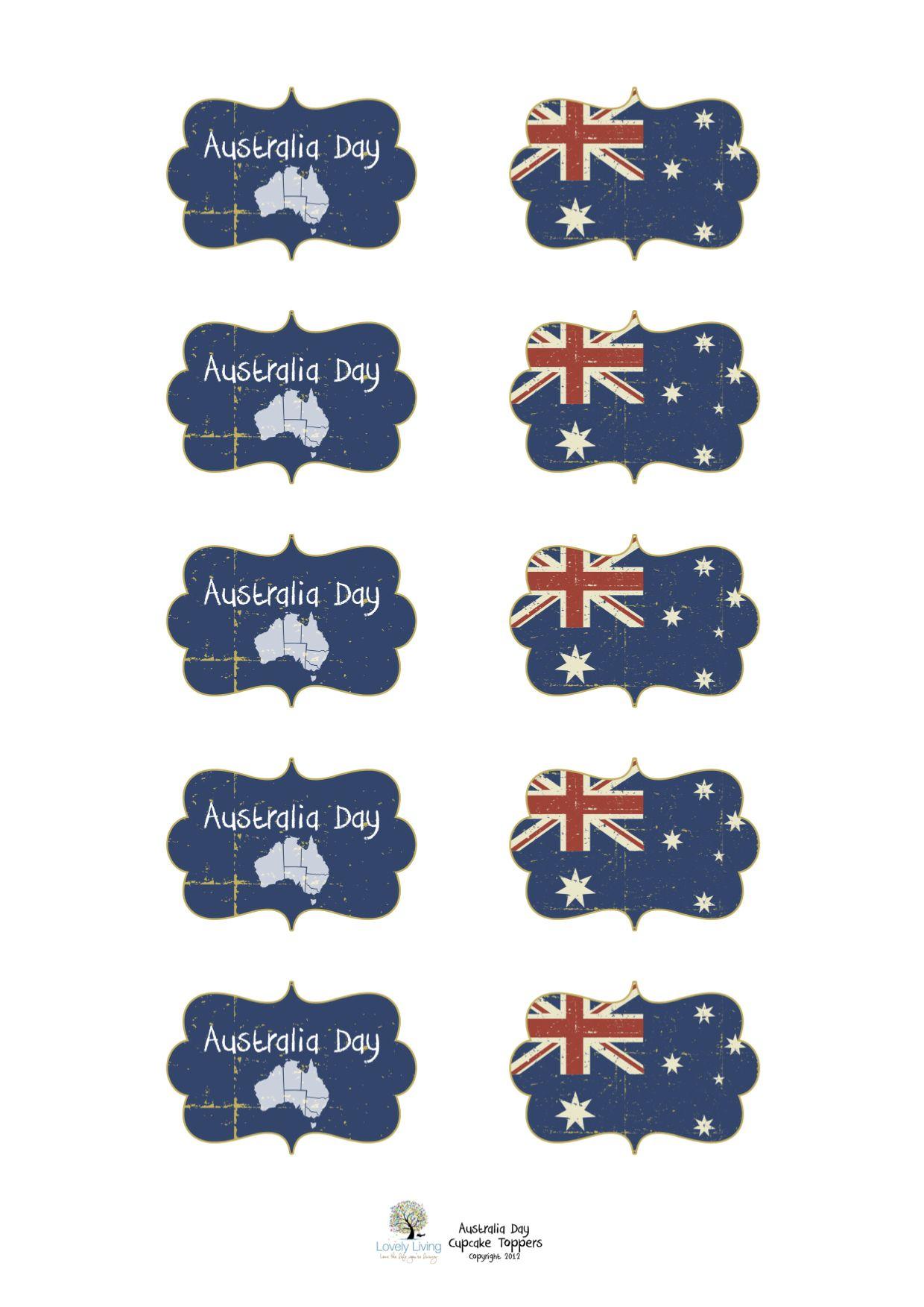 24 australia flag australia day ozzy flag cupcake toppers  party edible paper