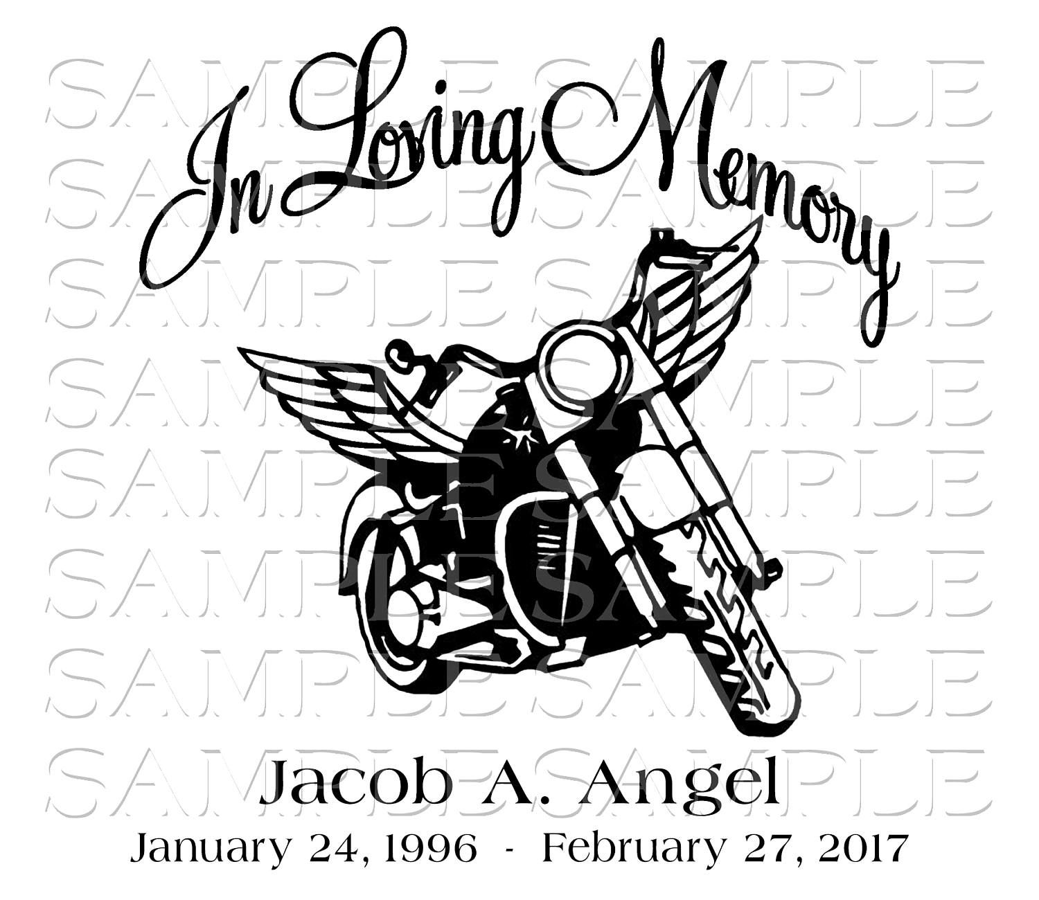 In loving memory motorcycle loss svg sticker decal car decal wings infant loss keepsake motorcycle truck car by pickleddesigns on etsy